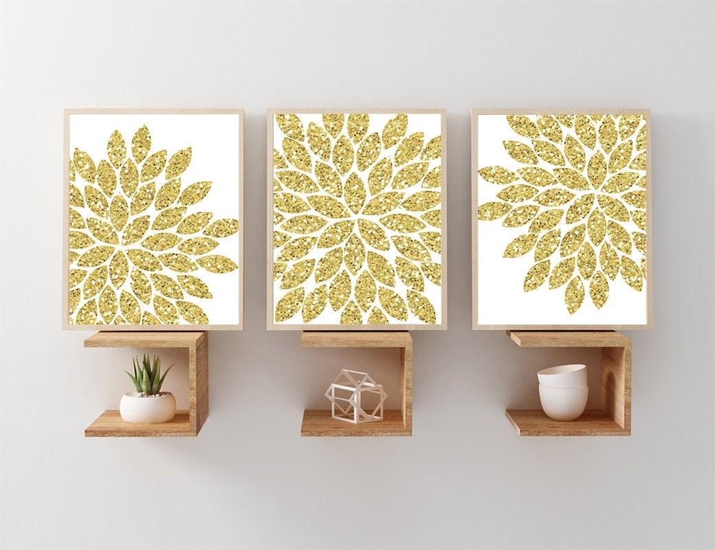 Glitter Gold Wall Art Canvas Or Prints Faux Glam Glitter Flower Bathroom Wall Decor Glitter Flower Bedroom Decor Set Of 3 Dorm Decor