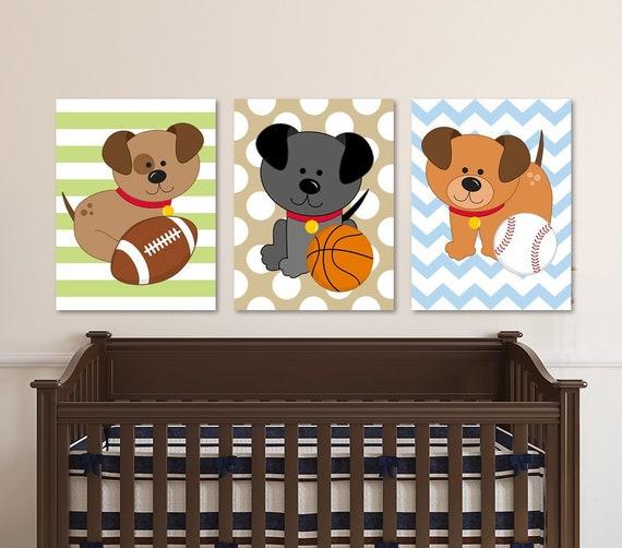 Sports Baby Boy Nursery Ideas: Dogs Sport Wall Art Baby Boy Nursery Art Puppy SPORTS