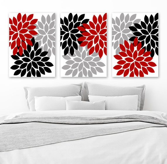Red Black Gray Wall Art Red Black Bedroom Wall Decor CANVAS