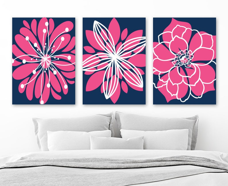 Navy Hot Pink Decor, Flower Navy Pink Bedroom Wall Art Decor Canvas Or  Prints Navy Pink Nursery Decor, Flower Bathroom Decor, Set Of 3 Art