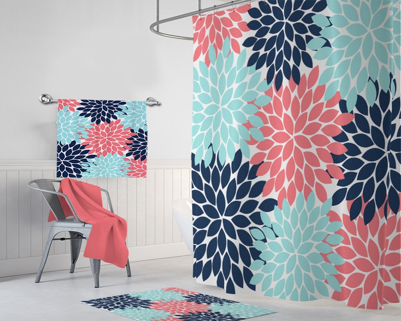 Coral Navy Aqua SHOWER CURTAIN Flower Bathroom Decor Shower Curtain Custom MONOGRAM Personalized Girl Towel Mat Set