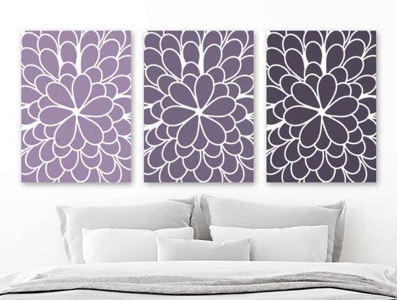 Purple Flower Wall Art Purple Ombre Flower Wall Decor Purple | Etsy