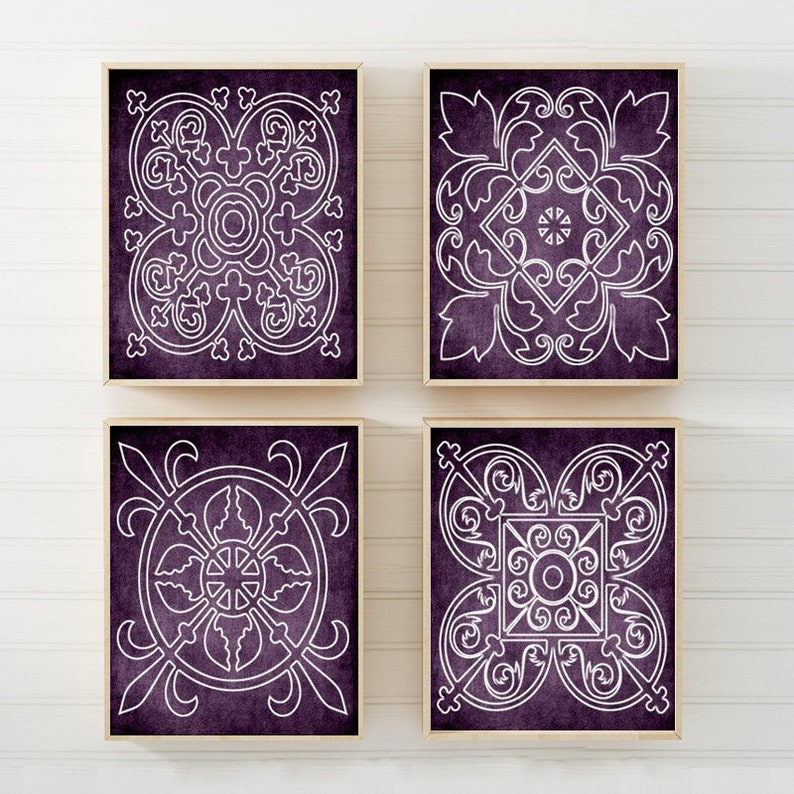 Purple Wall Art Canvas Or Prints Medallion Outline Purple Bathroom Decor Purple Bedroom Decor Matching Decor Set Of 4 Wall Hanging Art