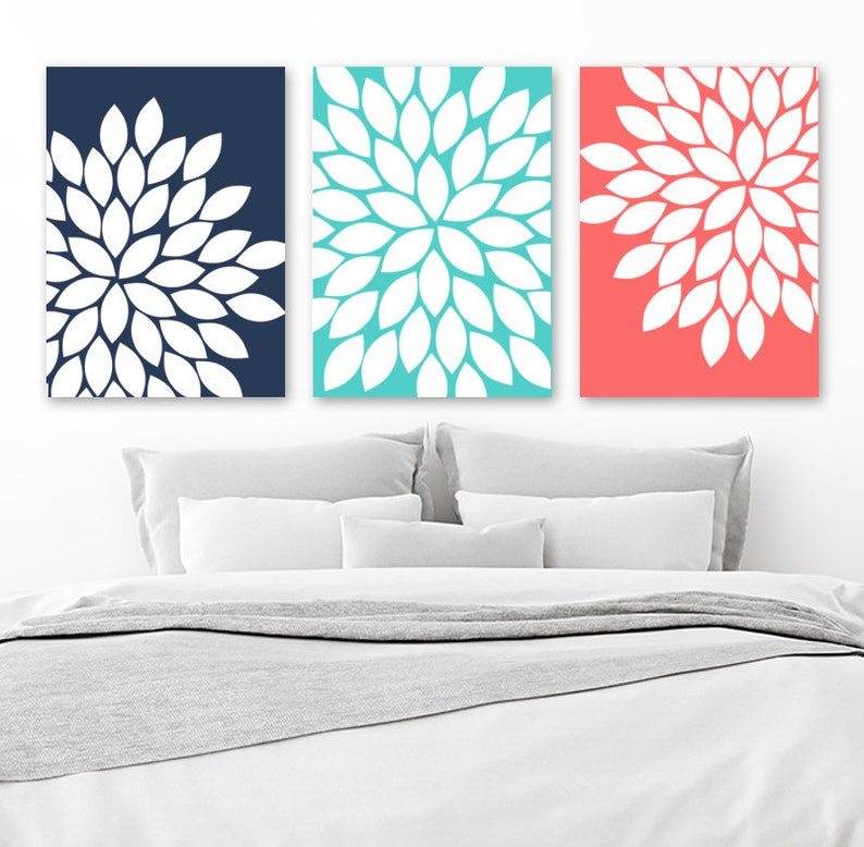 Flower Wall Art Navy Turquoise Coral Bedroom Art Flower Etsy