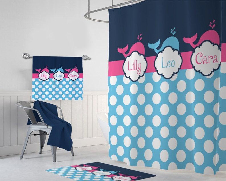 BALEINE douche rideau, décor de salle de bain baleine, baleine monogramme  personnalisé enfant Kid salle de bain ensemble, frère et sœur de rose bleu  ...