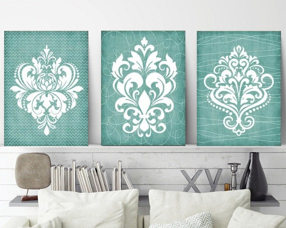 DAMASK BATHROOM Wall Art CANVAS Or Prints Aqua Bathroom | Etsy