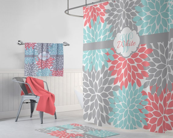 Aqua Coral Gray Floral SHOWER CURTAIN Flower Petals Girl