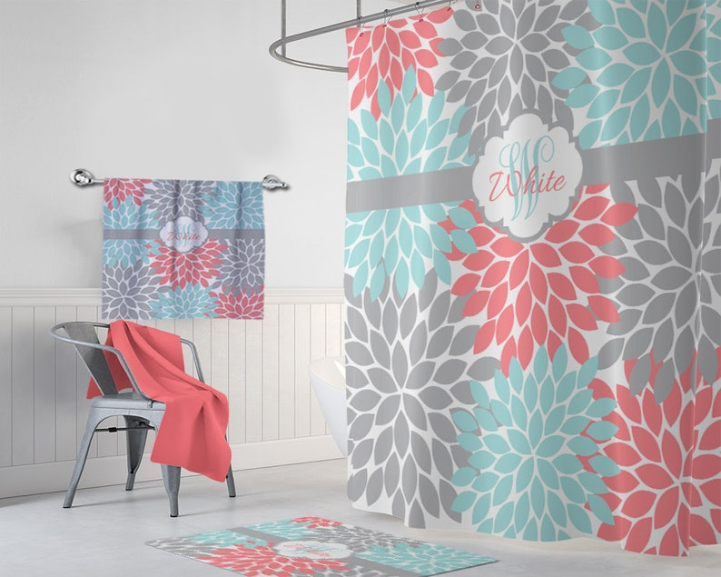 Aqua Coral Gray Floral SHOWER CURTAIN Flower Petals Girl MONOGRAM Personalized Bathroom Decor Bath Towel Plush Mat Rug