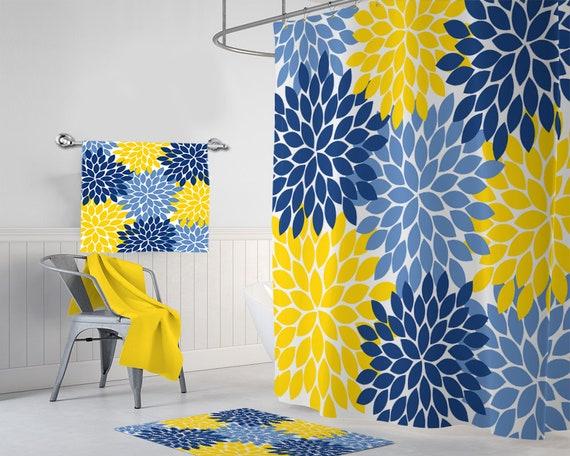 Blue Yellow Flower SHOWER CURTAIN Bathroom