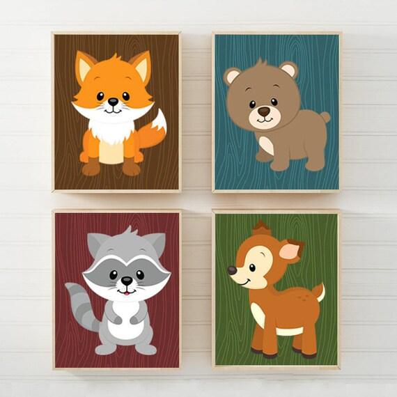 Wald Tiere Wandkunst Wald Kinderzimmer Dekor Leinwand oder   Etsy