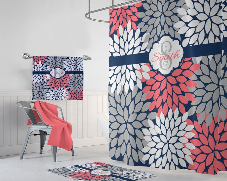 Coral Navy Gray SHOWER CURTAIN Flower Bathroom Custom MONOGRAM Personalized Floral Decor Bath Towel Plush Mat Rug