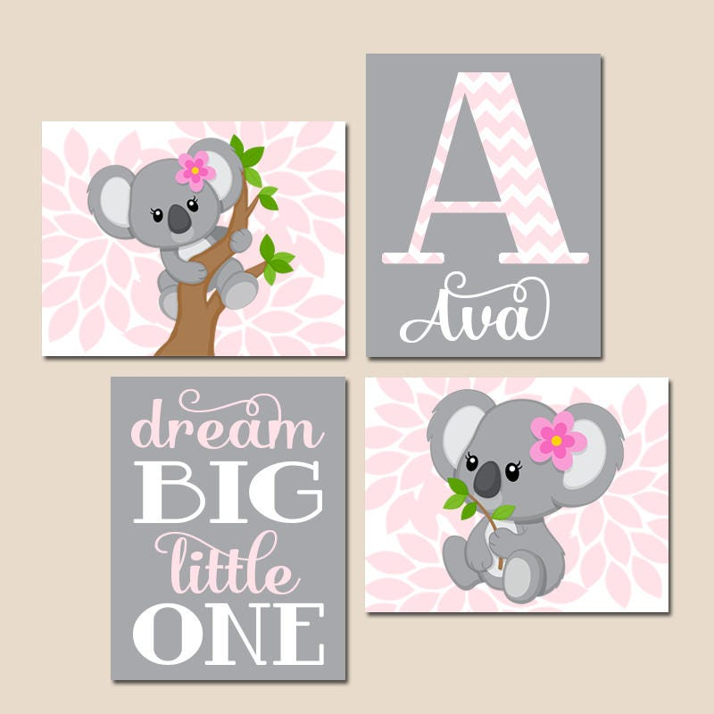 Pink And Gray Girls Baby Room: Pink Gray KOALA Nursery Baby Girl KOALA Nursery Wall Art