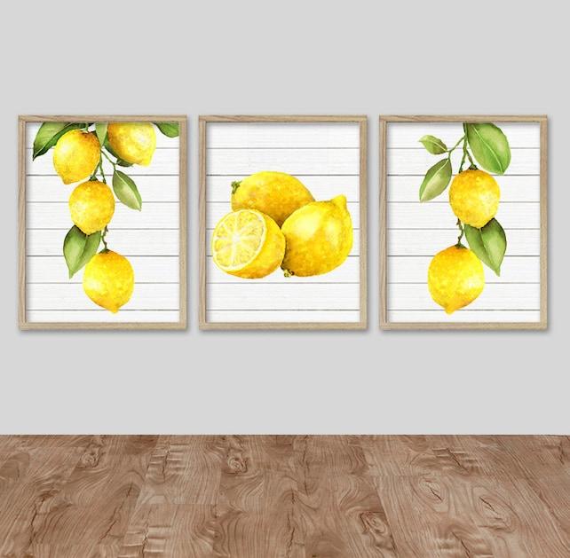 WATERCOLOR LEMON Wall Art Kitchen Lemon CANVAS or Prints | Etsy