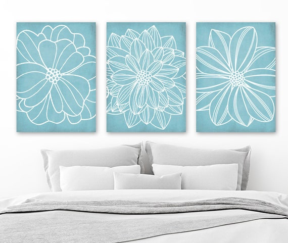 Light Blue BATHROOM WALL Art CANVAS or Prints Blue Flower   Etsy