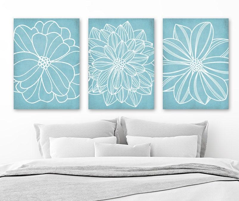 Bathroom Art Au: Light Blue BATHROOM WALL Art CANVAS Or Prints Blue Flower