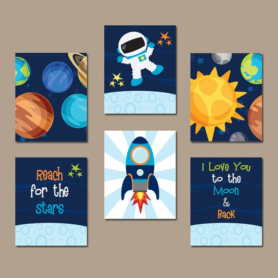 Outer Space Wall Art Baby Boy Nursery Space Pictures Love | Etsy