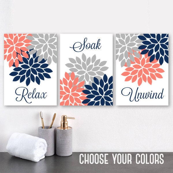 Navy Coral Gray BATHROOM WALL Art CANVAS Or Prints Flower