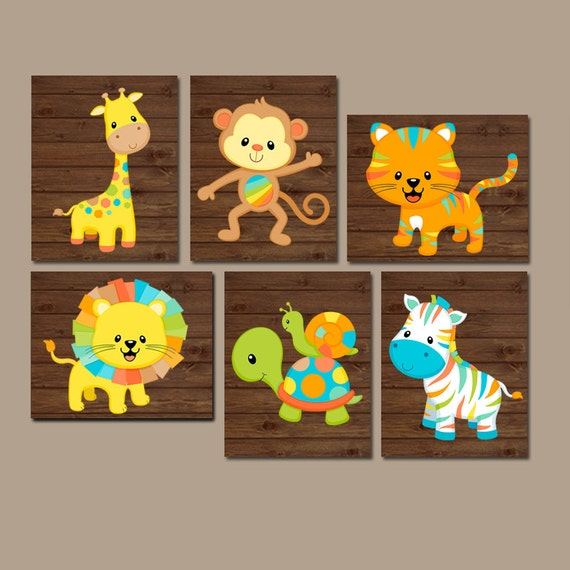 Safari Nursery Ideas: Safari Animals Nursery Wall Art Jungle Animals Baby Boy
