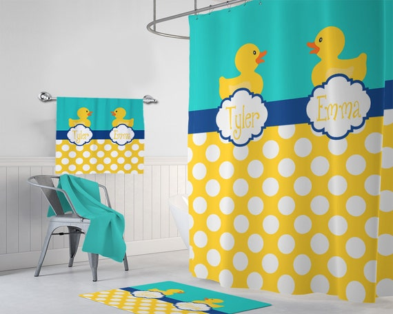 Duck SHOWER CURTAIN Bathroom Decor Monogram Personalized Rubber Duckie Brother Sister Shared Bath Towel Mat