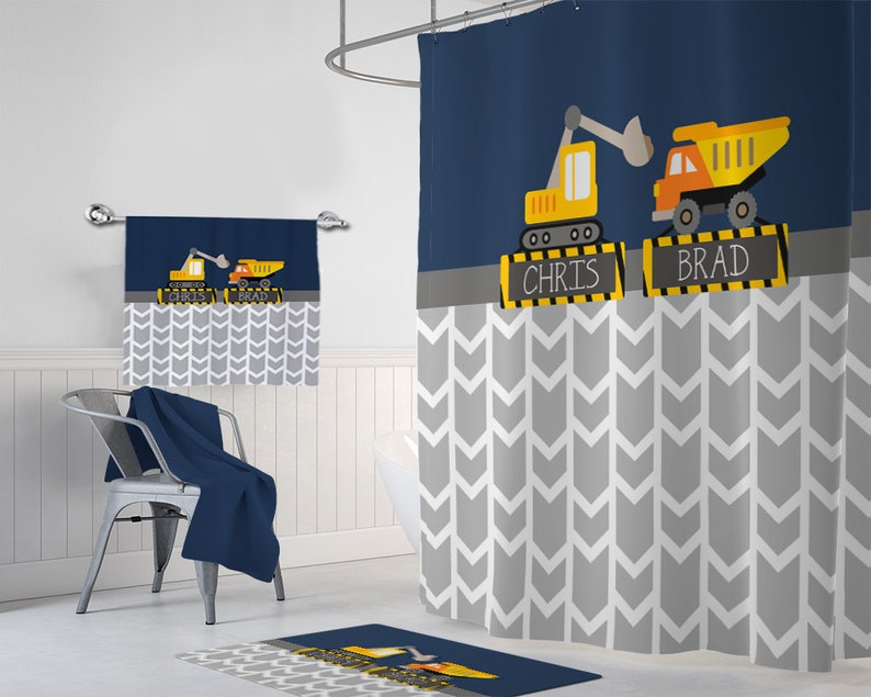 Construction Truck SHOWER CURTAIN Bathroom