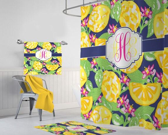 Lemon SHOWER CURTAIN Lilly Bathroom Decor