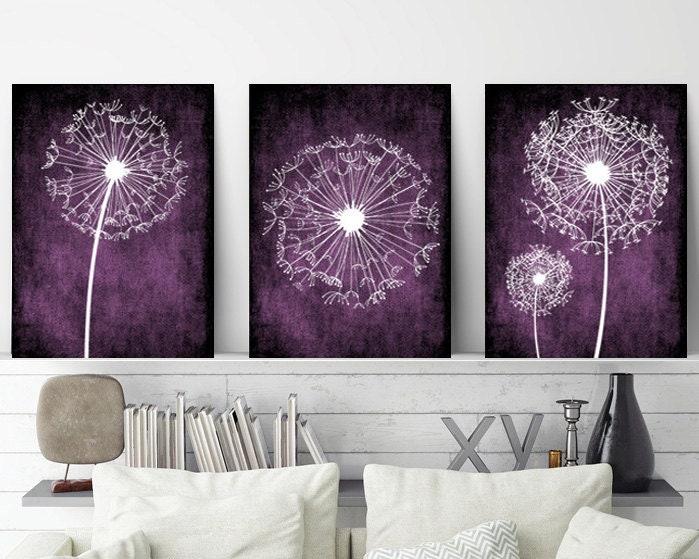 Dandelion Wall Art Purple Bedroom Wall Art Dandelion