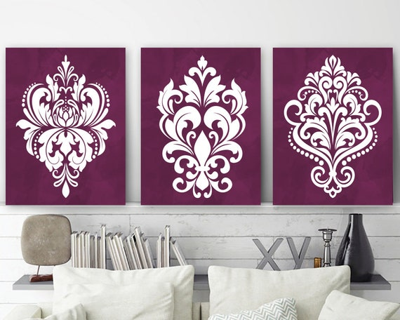 Damask Wall Art Maroon Bedroom Wall Decor Damask Canvas Or Etsy