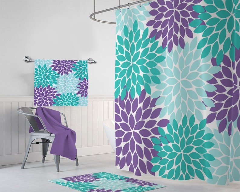 Aqua Teal Purple Flower SHOWER CURTAIN Bathroom Decor