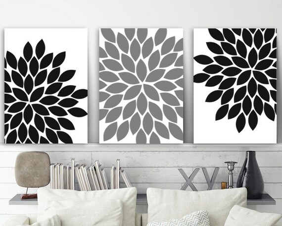Black White Grey Bedroom Wall Decor Living Room Wall Art Etsy