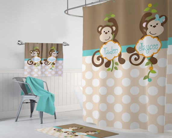 Monkey SHOWER CURTAIN Personalized Kid Child Bathroom