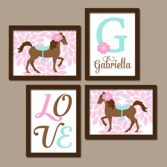 Girl Horse Wall Art Horse Bedroom Wall Decor Canvas Or Print Baby Girl Horse Nursery Decor Cowgirl Personalized Girl Monogram Set Of 4