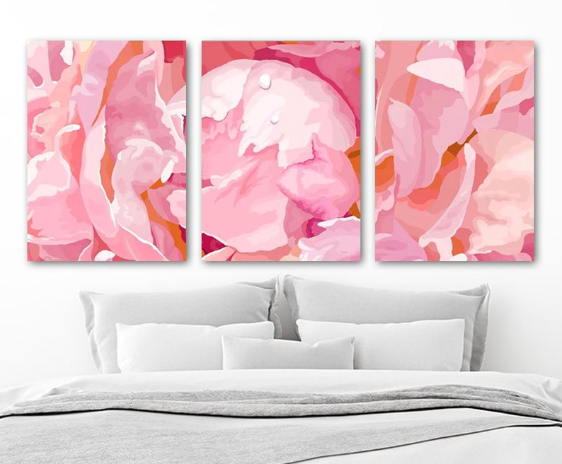 Pink Peonies Flower Wall Art Floral Watercolor Decor Zoom | Etsy