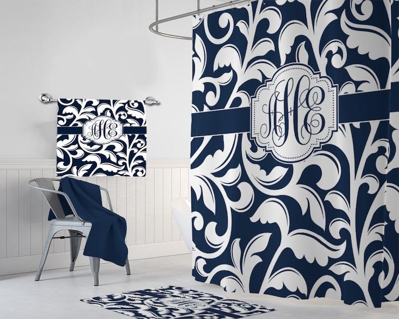 Navy White SHOWER CURTAIN Swirl Bathroom Decor
