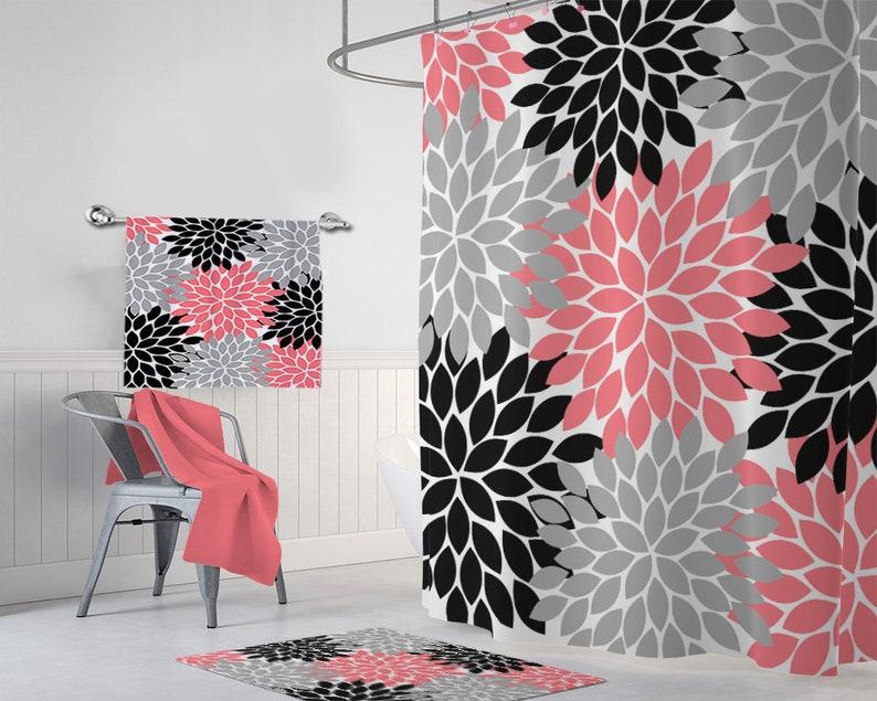 Coral Black Gray SHOWER CURTAIN Flower Bathroom Decor Custom