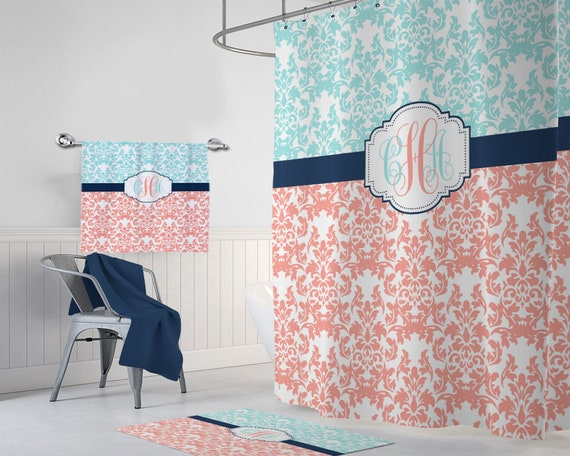 Damask SHOWER CURTAIN Coral Aqua Navy Master Bathroom Decor | Etsy