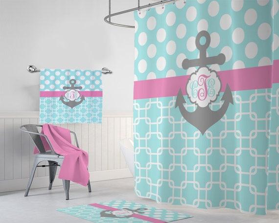 ANCHOR SHOWER CURTAIN Aqua Pink Gray Nautical Bathroom