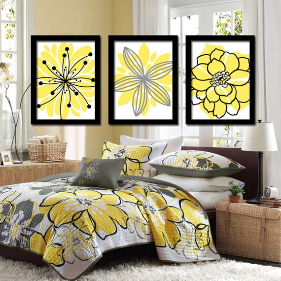 Yellow Black Wall Art Flower Wall Art CANVAS or Prints