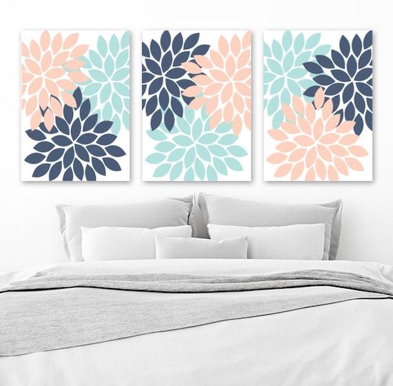 Etonnant Blue Aqua Peach WALL ART Canvas Or Print Blue Aqua Peach | Etsy