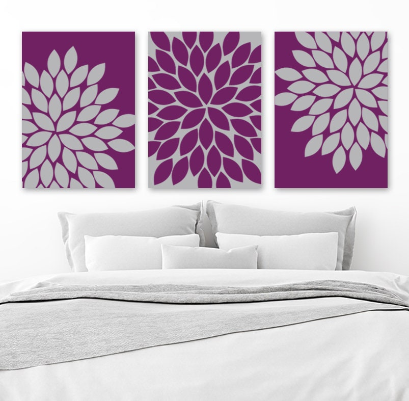 purple gray wall art eggplant bedroom canvas or print floral etsy. Black Bedroom Furniture Sets. Home Design Ideas
