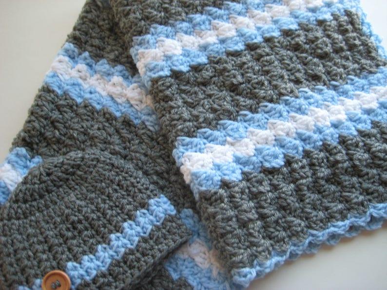 Ready To Ship Crochet Baby Boy Blanket Set Nursing Blanket Etsy