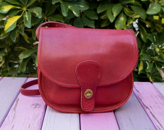 Vintage Coach Red Small Saddlery Leather Crossbody Purse Bag USA Made  0117193 d74d2d4e58a38