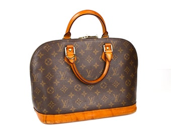 d5970412da9b Authentic Vintage Louis Vuitton Alma Brown and Tan LV Monogrammed Canvas  with Leather Bag Purse Satchel Made in France Designer