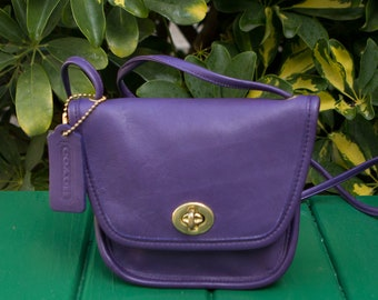 d5c71d0e7a9 Vintage Coach Purple Everett Convertible Festival Small Leather Purse  Crossbody 1980s USA 0313192