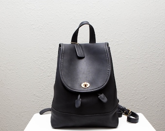 b32c9ce1a63f1 Coach Large Black Leather Daypack Backpack Bag Purse Rucksack Drawstring  9791 0729193