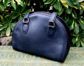 Vintage Coach Navy Blue Chadwick Medium Round Small Bowler Lunchbox Leather Purse Crossbody USA 9925 0716182