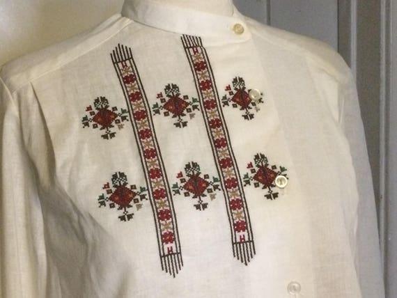 Vintage Embroidered Linen Peasant Blouse, Shirt, C
