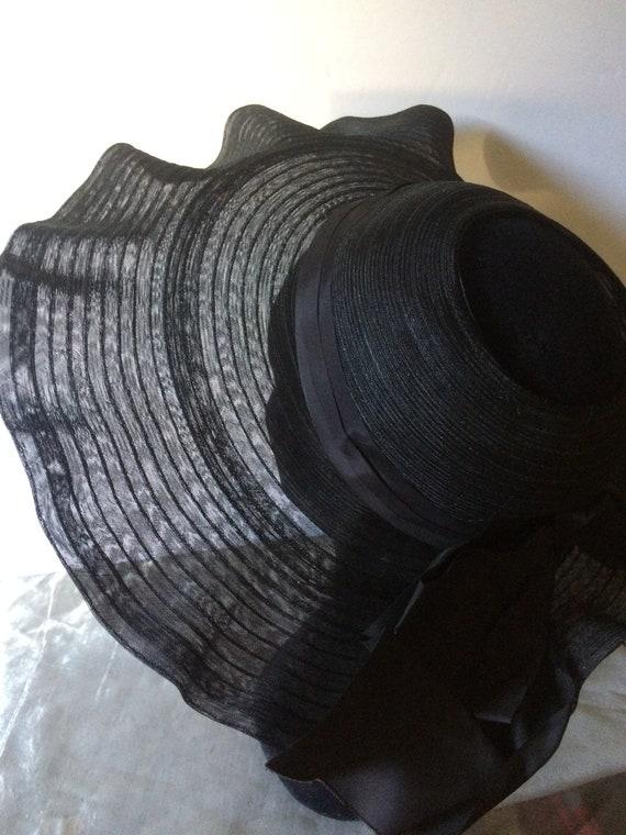 Vintage 30's Large Nylon Mesh Picture Hat, Sun Ha… - image 6