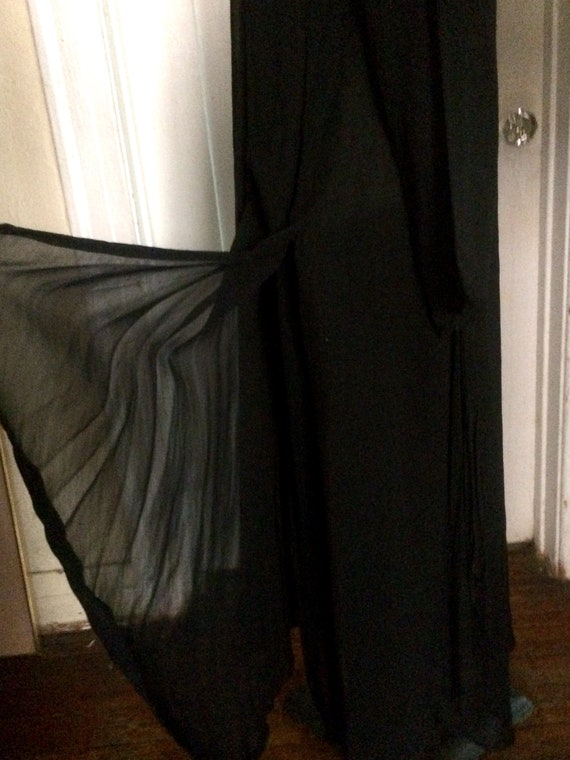 Vintage LEW MAGRAM Black Sheer Dropwaist Long Dre… - image 4