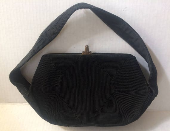 Vintage 40's Black Corde Soutache Purse, Top Handl