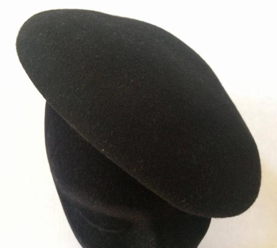 Vintage 30's Black Felt Beret/ Sandswept by Henry